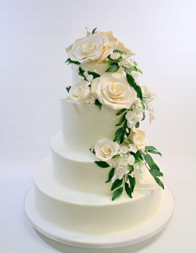 cascading white chocolate roses serves145-170