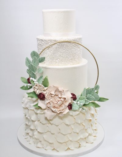 floral hoop and white chocolate petals serves 150