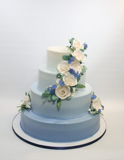 ombre blue BC cascading RC roses serves130 -150